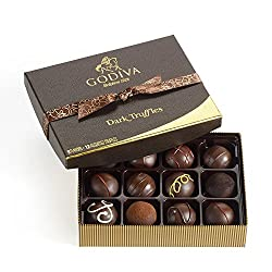 Godiva Chocolatier Dark Chocolate Truffles Gift Box, Great for Gifting, Dark Chocolate Treats, 12 Count