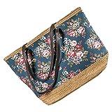 LaFiore24 Shopper Einkaufstasche Strandtasche mit Blumen Damen Badetasche Schultertasche...