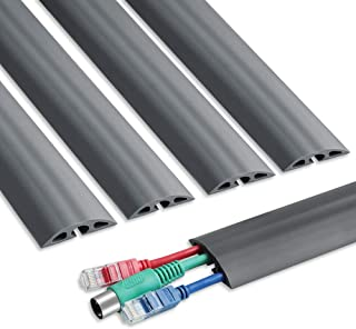 6.5 ft Floor Cable Cover - Durable Cord Cover for Floor, Straight Cord Protector - Low Profile PVC Duct - Flexible 3 Channel Wire Cover for Office Home Doorway, 5X L15.6in W2in H0.5in, Grey