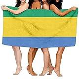 Tcerlcir Strandtuch Badetuch Saunatuch Duschtuch Ultra Leicht Handtuch Schnelltrocknend Saugfähiges Sporthandtuch Flagge von Gabun 130X80cm