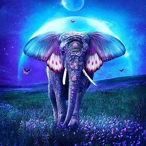 HSYE DIY 5D Pintura De Diamante Kit 5D DIY Diamante Pintura Adulto Elefante Animal Azul Diamante Pintura número Kit Cristal Rhinestone artesanías decoración del hogar 30x40cm (sin Marco) -30x40_cm