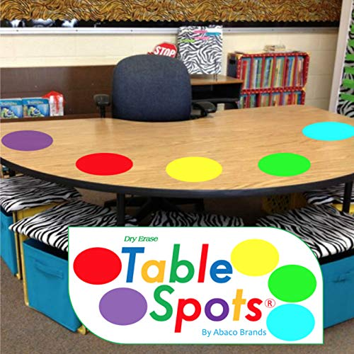 New Larger Size!   The Original Table Spots for Teachers   No Staining, No Shadowing, Complete Erase! Dry Erase, 10 Pack Multicolor Circles, Wall Stickers, Decals