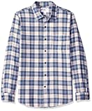 Amazon Essentials Men's Slim-Fit Long-Sleeve Plaid Flannel Shirt, Blue/White, X-Small