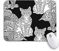 ECOMAOMI 可愛いマウスパッド Zentangleの高詳細ペット大人のぬりえページ猫滑り止めゴムバッキングノートブックコンピューターマウスマット