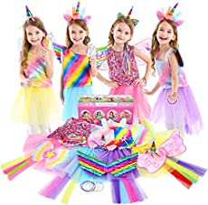 Jeowoqao Girls Princess Dress up Trunk Set 19 Pcs, Rainbow Unicorn Costume Set, Toddler Girls Dress up Clothes Pretend Play Costumes Set for Little Girl Ages 3-6