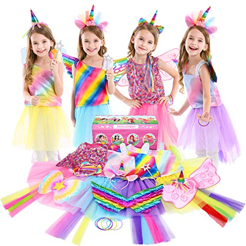 Jeowoqao Girls Princess Dress up Trunk Set 19 Pcs, Rainbow Unicorn Costume Set,...