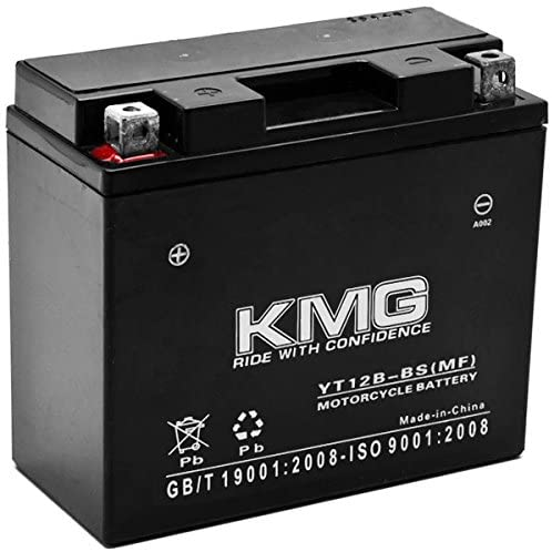 KMG Battery Compatible with Yamaha 650 XVS650 V-Star All 1998-2011 YT12B-BS Sealed Maintenance Free Battery High Performance 12V SMF OEM Replacement Powersport Motorcycle ATV Scooter Snowmobile