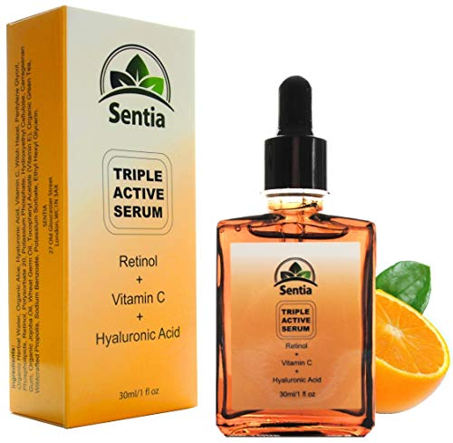 Best Vitamin C Serum + Hyaluronic Acid + Retinol serum for the face. Pure Anti Aging Ageing Wrinkle Ingredients. Reduce Wrinkles and Frown Lines on the forehead, Hands & Neck