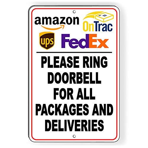 Thomas655 OnTrac Ring deurbel voor pakketten en leveringen metalen bord SI