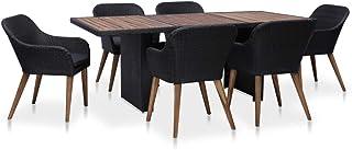 vidaXL Set Muebles Comedor Jardín 7 Pzas Ratán Sintético Negro Gris Mesa Silla
