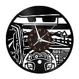 Car Cab Elements - Reloj de pared con disco de vinilo de 12 pulgadas, reloj de pared de vinilo para cocina, hogar, sala de estar, dormitorio, escuela (C), sin LED Reloj de vinilo de jazz, arte de pare