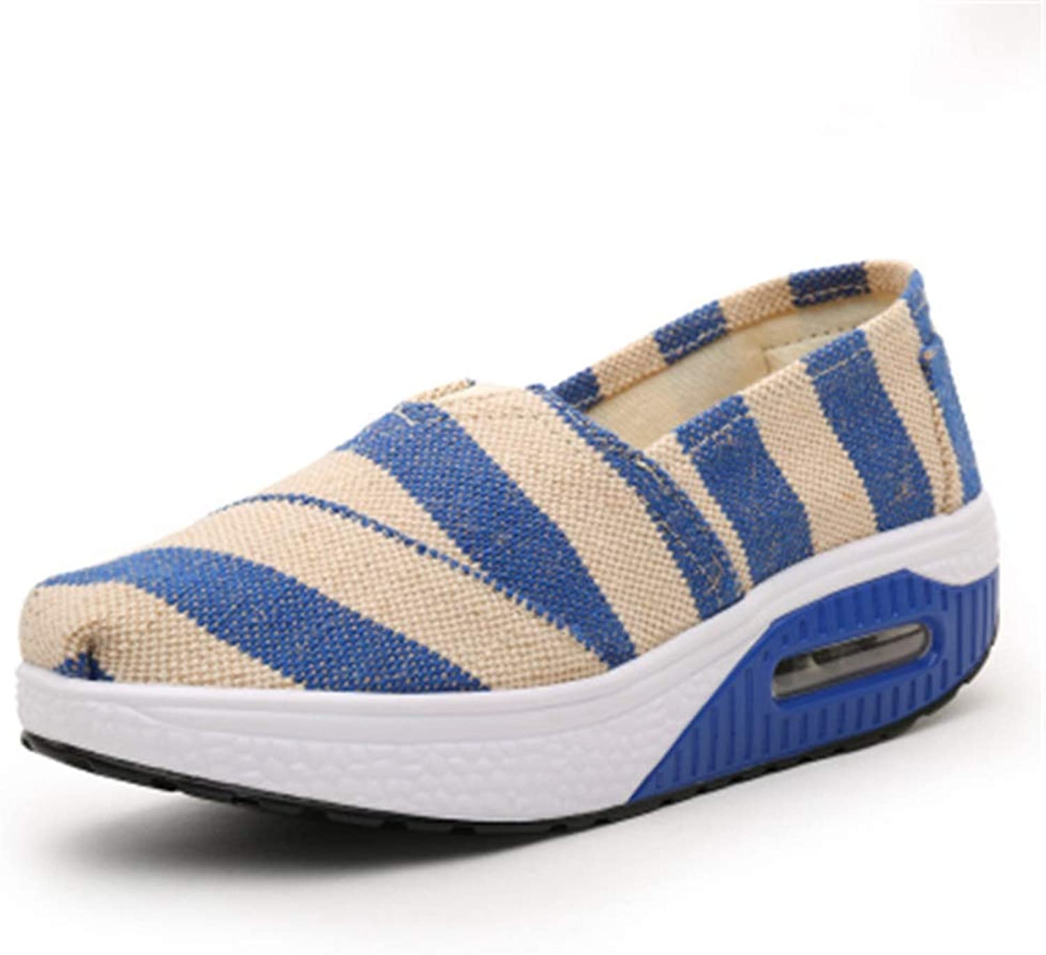 Women's Striped Casual Canvas Breathable Fabric Platform Wedges Sneaker Female Fashion Leisure Slip On Loafers