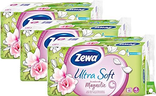 Zewa Toilettenpapier Ultra Soft Magnolie, 4-Lagig, Riesenpackung 3 X 16 Rollen Mit Je 150 Blatt