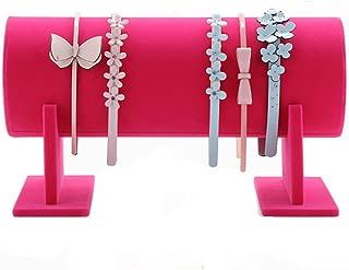 Glittermall Hot Pink Color Velvet Separate Detachable Jewelry Headband Hair Hoop Hairband Hair Clasp Holder Display Stand Rack Organizer
