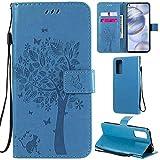 DodoBuy Oppo Find X2 Lite Hülle Katze Baum Muster Flip PU Leder Schutzhülle Handy Tasche Hülle Cover Standfunktion mit Kartenfächer für Oppo Find X2 Lite - Blau