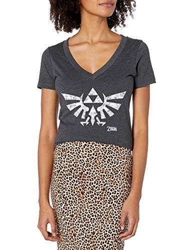 Nintendo Zelda Floral Triforce Logo V-Neck Graphic Camiseta para Mujer, Carbón Heather, M