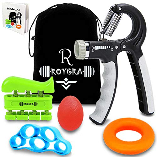 roygra Grip Strength Trainer, Forearm Workout, Hand Exerciser, Finger Strengthener - 5 Pack