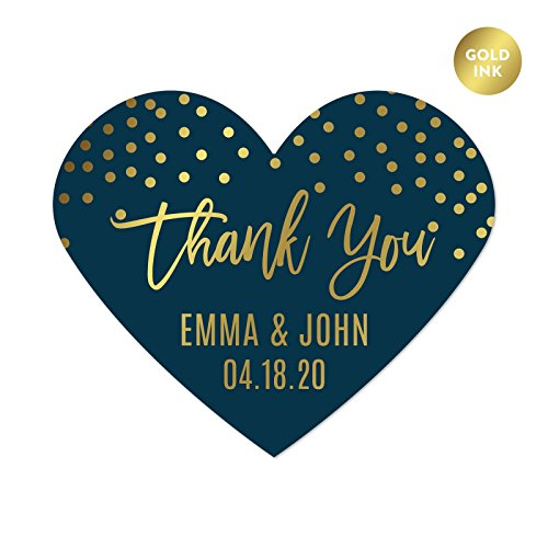 Andaz Press Navy Blue with Gold Metallic Ink Wedding Party Collection, Personalized Heart Label Stickers, Thank You Anna & Steve January 4, 2020, 75-Pack, Custom Names and Date