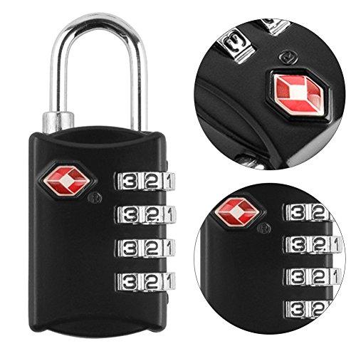 Yorgewd bagages Lock, alliage de zinc Cadenas à combinaison 4 chiffres Verrou de sécurité pour valises Baggage Verrouille, sacs, Classement, armoires, boîte à outils, Noir