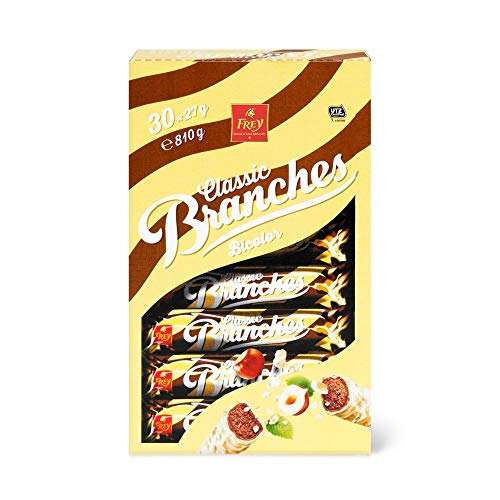Frey Branches Classic Schokoriegel Bicolor 30er-Pack - Weisse Schokolade und Milchschokolade mit Haselnusscremefüllung - Schweizer Schokolade - Großpackung 30 Stück à 27g einzeln verpackt / 810 g