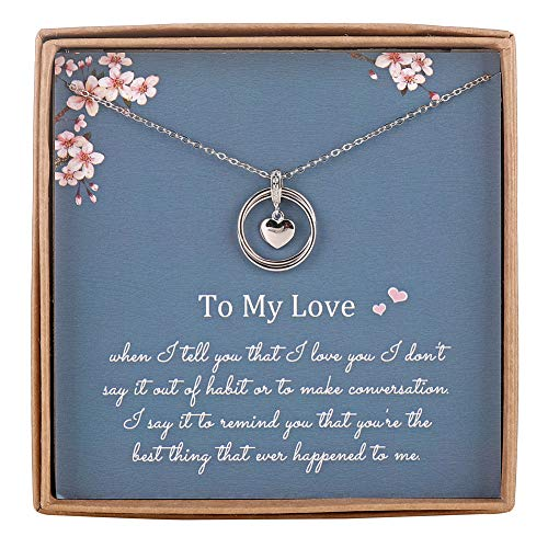 AnalysisyLove Infinity Necklace for Girlfriend/Wife, Sterling Silver Cute I Love You Heart Pendant 2...