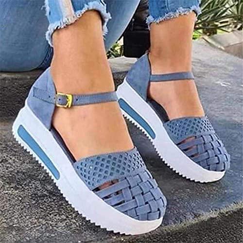 XKDWAN Sandalia para Mujer Verano 2021 Talon Cierre Hebilla Primavera Sandalias Plataforma de Playa Cómodo Ligero Casual Sandalia para Caminar al Aire Libre,Sky Blue,36