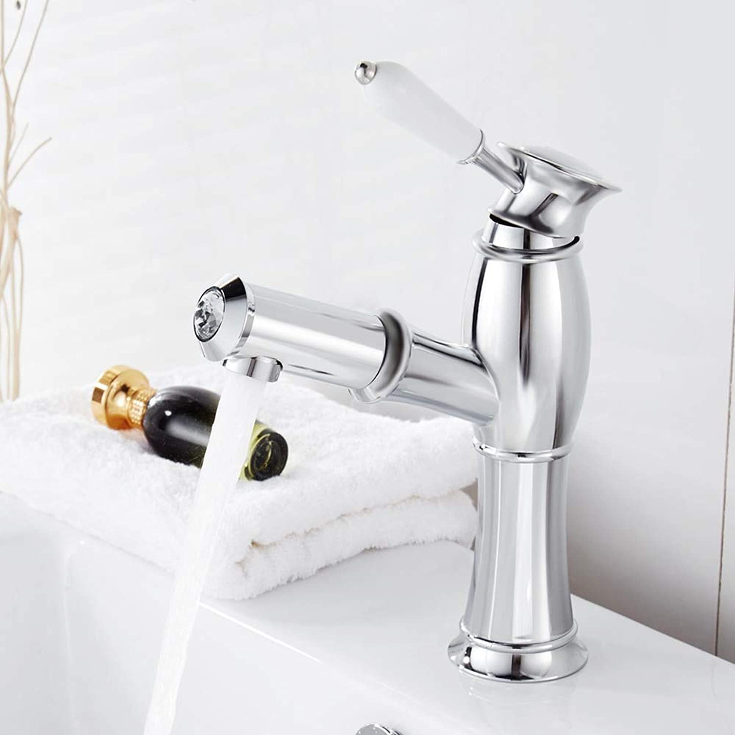 Ceramic Pull Out Bathroom Pool Sink Faucet Single Handle Hot and Cold Crane Container Sink Mixer Faucet