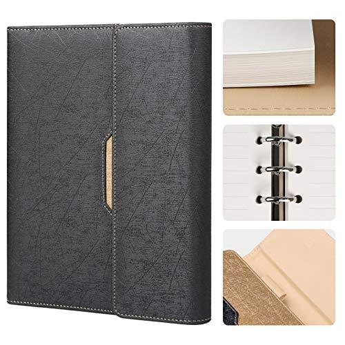 RESO Fashion Nachfüllbares Notizbuch Lined aus PU-Leder A5 Notebook liniert mit Kartenfach und Pen-Schleife, 100 g/m² Papier, 100 Blatt | 200 Seiten -Schwarz