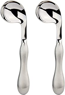 Adaptive Utensils 2pcs Curved Spoon Set Right Handed Angled Spoons Cutlery Utensil Stainless Steel Eating Silverware for Hand Tremors, Arthritis, Parkinson's or Elderly Use