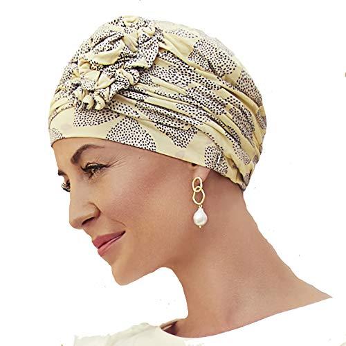 Gorro Lotus Primavera/Verano con bambú para Mujeres en Tratamiento de quimioterapia (Limones de Verano)