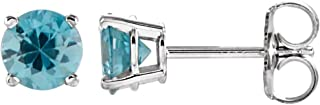 Jewels By Lux Set 14k White Gold Genuine Blue Zircon 5 mm Friction Pair Polished Blue Zircon Earrings With Backs