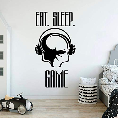 ShiyueNB spelsticker eat sleep spel vinyl belettering muursticker teeen boy room decoratie kinderkamer muurdecoratie sticker gamer quote 78x42cm A