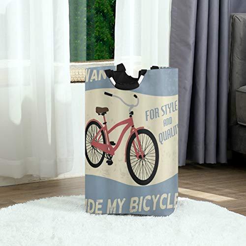 ZOANEN Wäschesack,1960er Jahre Qualität Fahrrad Tour Joy Vintage Grunge Poster Style Zitate Willst du mein Fahrrad Bild fahren,Großer faltbarer Wäschekorb,zusammenklappbarer Wäschekorb