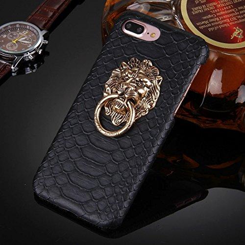 Wdckxy - Funda protectora para iPhone 8 Plus y 7 Plus con textura de piel de serpiente, con soporte para cabeza de león (color: negro)