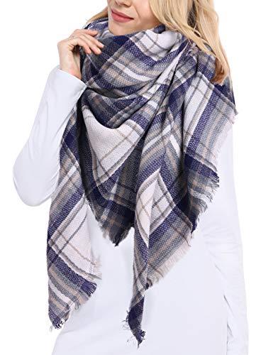 Bess Bridal Women's Plaid Blanket Winter Scarf Warm Cozy Tartan Wrap Oversized Shawl Cape (One Size, White Blue Plaid)