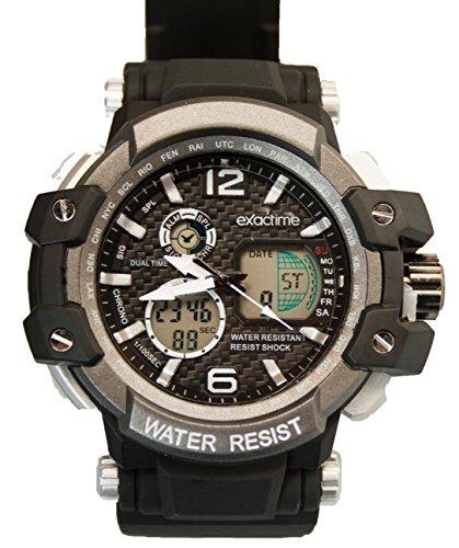 EXACTIME 1420 Negro- Reloj Deportivo Resistente al Agua Unisex - Análogo/Digital