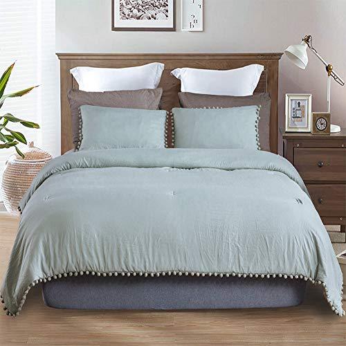 SexyTown-Green Pompom Fringe King Size Comforter Set, Boho Down Comforter Baby Soft Extra Comfortable Natural Wrinkle Fluffy Bedding Comforters Best Gift for Family