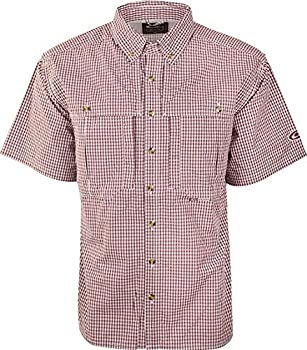 Drake Waterfowl Gingham Plaid Wingshooter s Shirt S/S Maroon XLarge