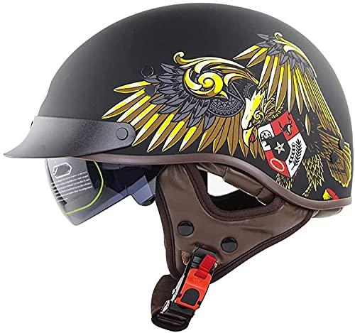 Adult Motorcycle Half Helmet Men and Women Road Men's Scooter Helmet, Summer Motorcycle Retro Helmet Sports Enthusiasts Gift ECE Approved A,XL