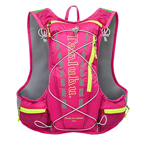 Hydration Backpack Ladies Trekking Vest Bag Marathon Hydration Sports Bag Lightweight Sports Bag for Outdoor Sports Cycling Running Hiking (Rose red)