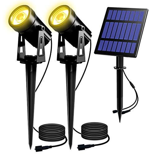 T-SUN Lampe Spot Solaire Exterieur - Lumières Solaire Puissant Exterieur LED Etanche IP65 3000K, Lumiere Exterieur Solaire Idéal pour Chemins, Pelouses, Terrasses, Plantes, Jaune 2 pack