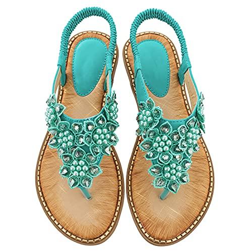KLHDM Sandalias Mujer Plana Bohemio Espiga Cuentas Trenzadas Playa Clip Toe Pisos Cómodo Banda elástica Casual Zapatos,003,42EU