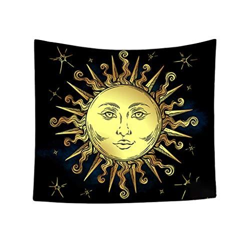 Xmiral Tapisserie Stern Mond Sonne Yogamatte Picknickdecke Wandteppich 150X130cm(C)