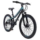 BIKESTAR MTB Mountain Bike Alluminio per Bambini 10-13 Anni | Bicicletta 24 Pollici 21 velocità Shimano, Hardtail, Freni a Disco, sospensioni | Nero e Verde