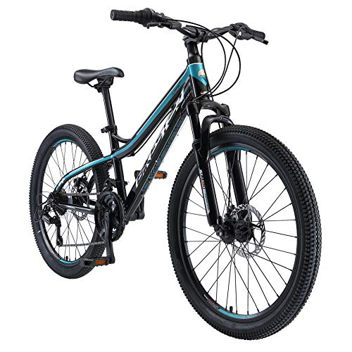 BIKESTAR Kids Mountain bike aluminium 24 Inch 10-13 years | Children youth bicycle 21 gear Shimano, Disc Brake, Suspension Fork, Hardtail | Green