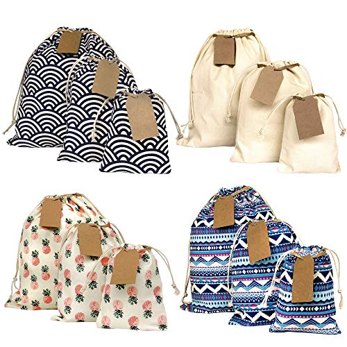 Erimova 12 Gift bags assorted sizes. Set comes with 15 Gift Tags and String. Reusable gift bags. Drawstring gift bags for any occasion. Fabric gift bags. Birthday gift bags. 2nd Ed.