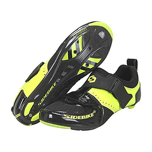 RTY 1 par de Sistema de Bloqueo para Hombre Zapatos de Ciclismo Transpirable Zapatos de Bicicleta de Carretera Antideslizantes para MTB,Negro,46