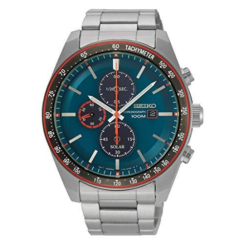 SEIKO heren chronograaf solar horloge met roestvrij stalen armband SSC717P1