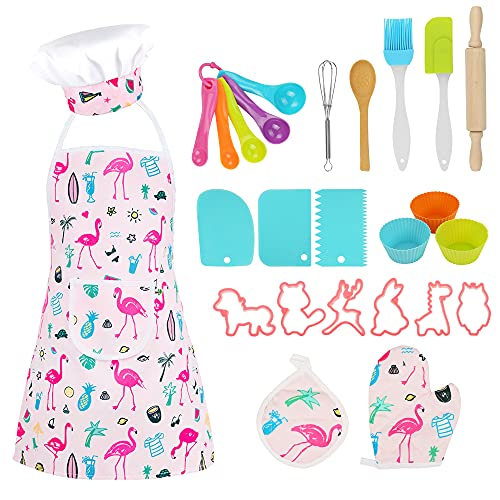 WELSPO Kids Cooking & Baking Set for Girls and Boys- 26Pcs Child Cooking Utensils Kits Kids Chef Role Play Includes Apron Chef Hat Cake Cutter Silicone Cupcake Moulds for Toddler Age 3-6 Dress Up