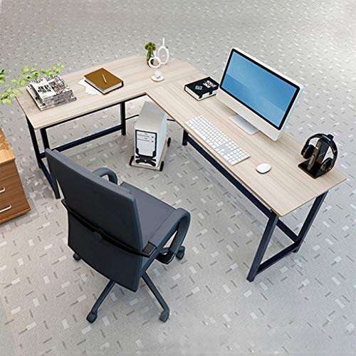 Home Office Corner Desk Computer Table, Steel Wood Study Office Desk Workstation, Student Study Table Writing Table, Modern Desktop Computer Desk Laptop Table Gaming Table PC Table, Shipped from US